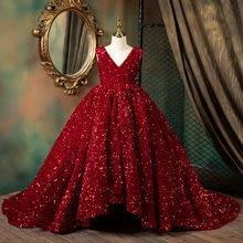 Robe de première Communion pour filles, à fleurs, à paillettes, pour enfants, spectacle de Piano, robe de bal de concours