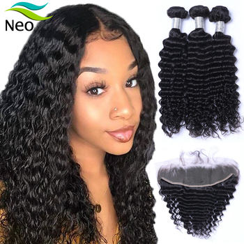 deep wave bundles with ear to ear frontal cuticle aligned human virgin hair 13*4 inches lace frontal preuvian hair image