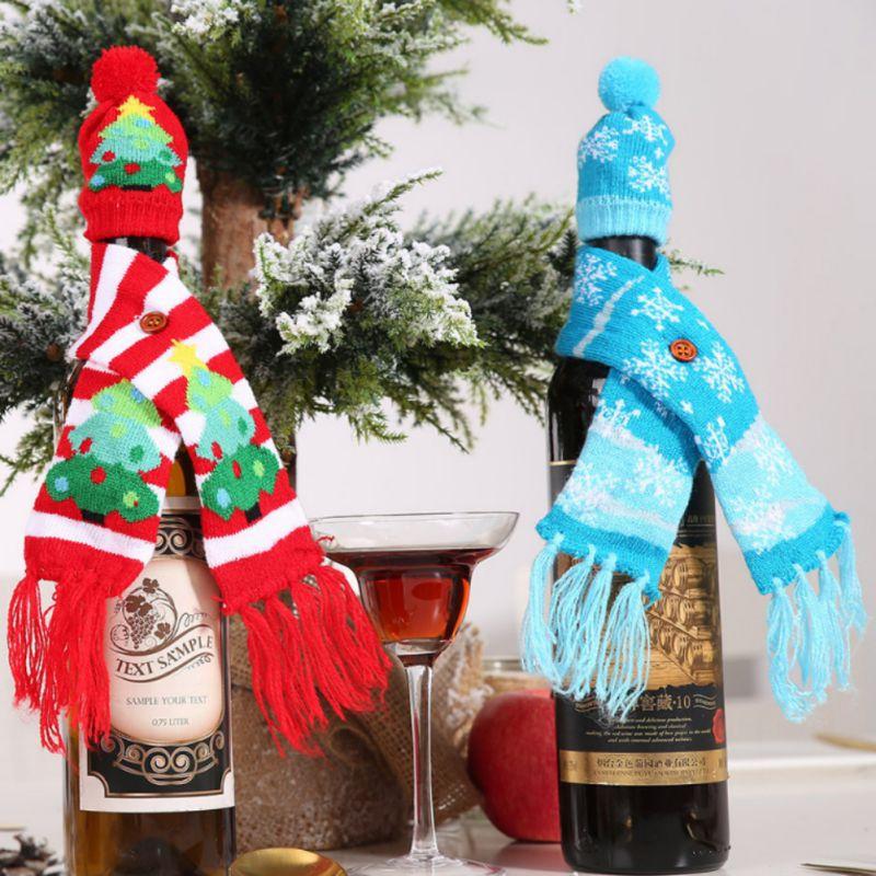 Рождественское вязаное покрытие для вина, украшение, крышка для бутылки вина, утепление, рождественские украшения для дома, Новогоднее укра... - 2