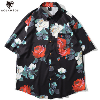 Aolamegs Men Shirt Rose Flower Printed Short Sleeve Shirts Men Summer Bermuda Beach Casual Shirt Tops Vintage Loose Streetwear vintage printed rose flower dragonfly paper napkins for event