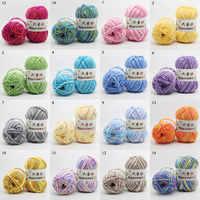 Hilo de algodón para tejer a mano, hilo de lana colorido y ecológico, suave, Cachemira, para bebé, 5 partes