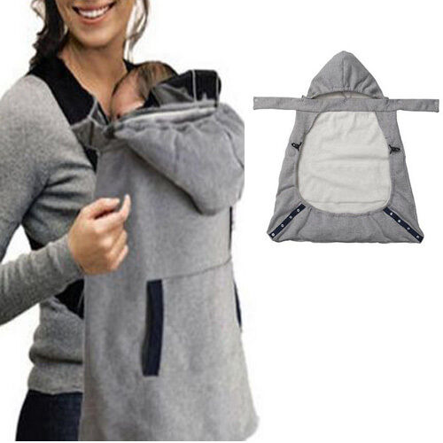 Infant Baby Carrier Wrap Comfort Sling Winter Warm Cover Cloak Blanket Grey Hooded New Fashion Sleepwear