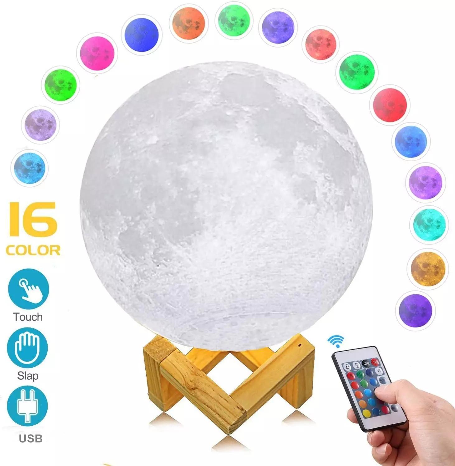 LED Night Light 3D Moon Lamp Remote Control Rechargeable 16 Color Touch Dimmable Moon Lamp Children's Lights with Wooden Stand