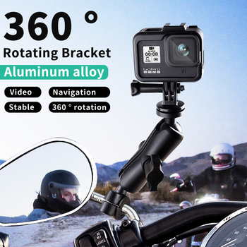 цена на Motorcycle Bike Camera Holder Handlebar Mirror Mount Bracket 1/4 Metal Stand For GoPro Hero8/7/6/5/4/3+ Action Cameras Accessory