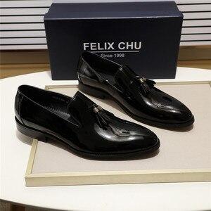 Image 4 - FELIX CHU 특허 가죽 남성 술 로퍼 신발 블랙 브라운 슬립 망 드레스 신발 웨딩 파티 공식 신발 크기 39 46