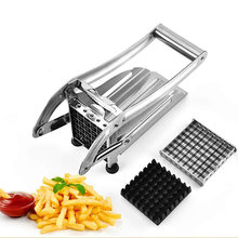 French Fry Cutter Potato Chipper Slicer with 2 Interchangeable Blades Vegetable Slicer Cutter Potato Onion Kitchen Gadget(China)