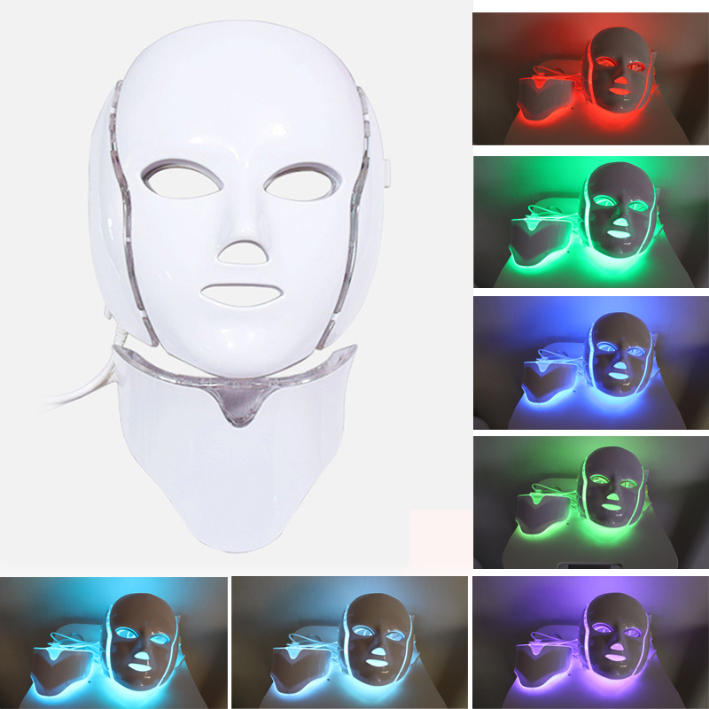 7 Colors Led Mask Skin Care Tools Wrinkle Tightening Machine Light Therapy Mask Neck Therapy Whitening Beauty Face Care Machine