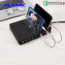 110W 8 Port çoklu USB iphone şarj cihazı 7 8 XS Ipad QC3.0 Hızlı USB Masaüstü şarj istasyonu standı Samsung S8 S9 s10 not 8 9