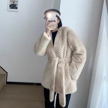 Coat Fur Mink-Fur Women's New-Fashion for Youth Turf Velvet-Liner Imitation All-In-One