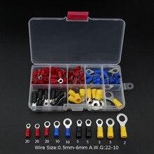 102 шт 10 видов RV Кольцо Терминал комплект электрических обжимных соединителей с коробкой медный провод Изолированный Шнур