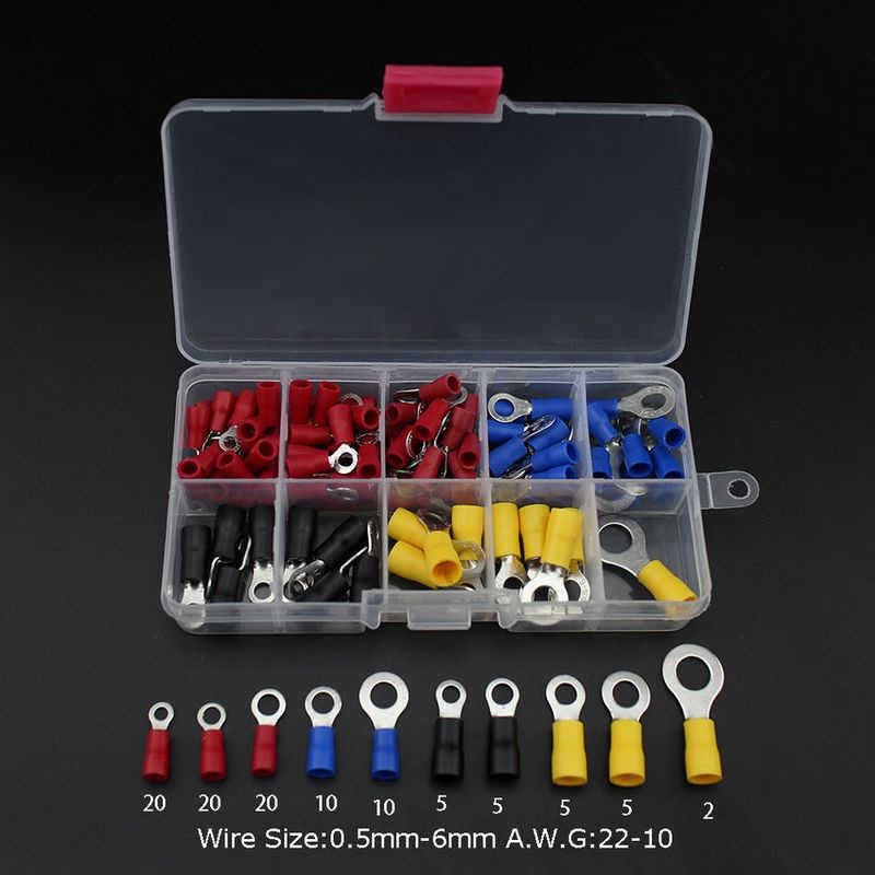 102PCS 10Kinds RV Ring Terminal Electrical Crimp Connector Kit Set With Box Copper Wire Insulated Cord Pin End Butt