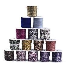 2 рулона, 5 мм, Плоский эластичный шнур из полиэстера с леопардовым принтом для браслетов, шнур для бисероплетения «сделай сам», шнур для одеж...