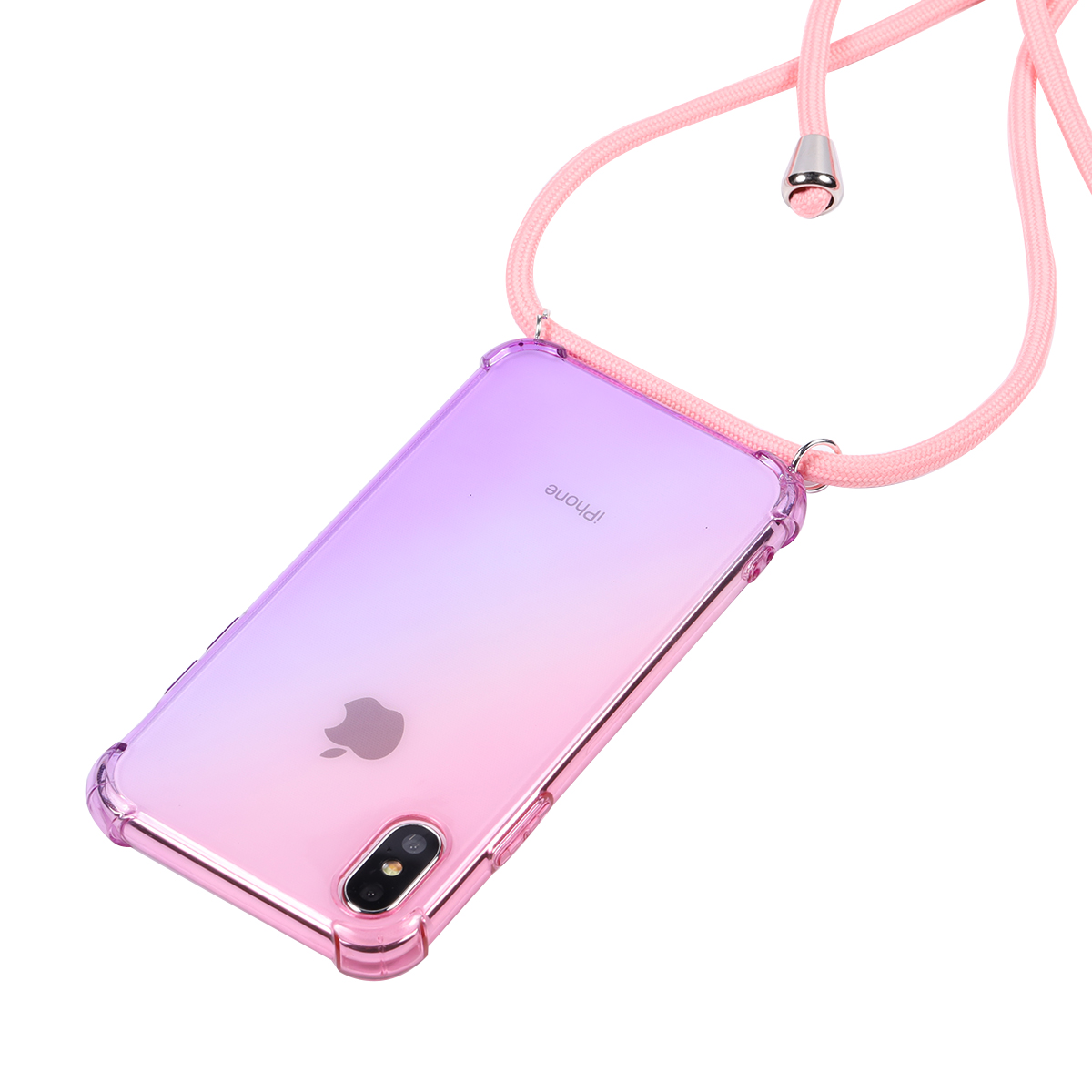 lanyard Rainbow aurora transparent <font><b>case</b></font> for <font><b>OPPO</b></font> <font><b>A5</b></font> <font><b>A9</b></font> <font><b>2020</b></font> Realme X X2 Pro 5 X50 A7X A79 A31 A91 A8 Q shoulder rope cord cover image