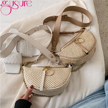 Gusure petits sacs de paille pour femmes été Crossbody voyage sacs à main et sacs à main femmes chaînes sacs de messager large sangle Shoudler(China)