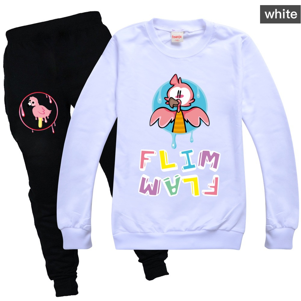 Toddler Girl Fall Clothes 2020 Girls Boutique Outfits Round Neck Sweater + Casual Pants Cotton Flamingo Flim Flam Boys Shirt Set 6