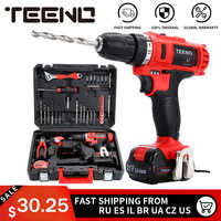 "TEENO 3/8"" Electric Screwdriver Cordless Drill Power Driver 21-Volt DC Lithium-Ion Battery 40N.m two-Speeds"