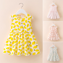 все цены на 2019 Summer girls dresses Print flower  baby clothing party kids costume clothes for children toddler clothes dress cheap stuff онлайн
