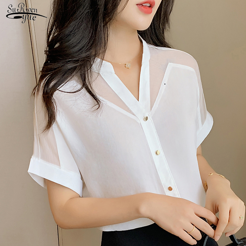 2020 Summer New Style Short-Sleeved Top Women Fashion Solid Color Mesh V-neck Women Shirts Pullover Chiffon Women Blouse 9632