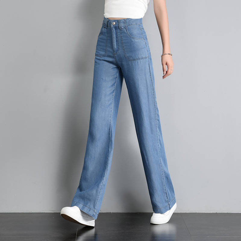 2019 Summer New Style High-waisted Tencel Jeans WOMEN'S Dress Thin Wide-Leg Long Pants Large Size Loose-Fit Slimming Women's
