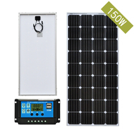 150 Watt 18V Monocrystalline Solar Panel for 12V battery charger cell home system Kit with 20A LCD PWM Charge Controller Solar