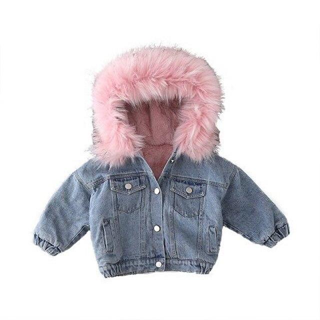 Kids Denim Jackets Coats Warm Soft Clothes Hot Girls Winter Velvet Thickening Children's Denim Big Fur Collar Coats