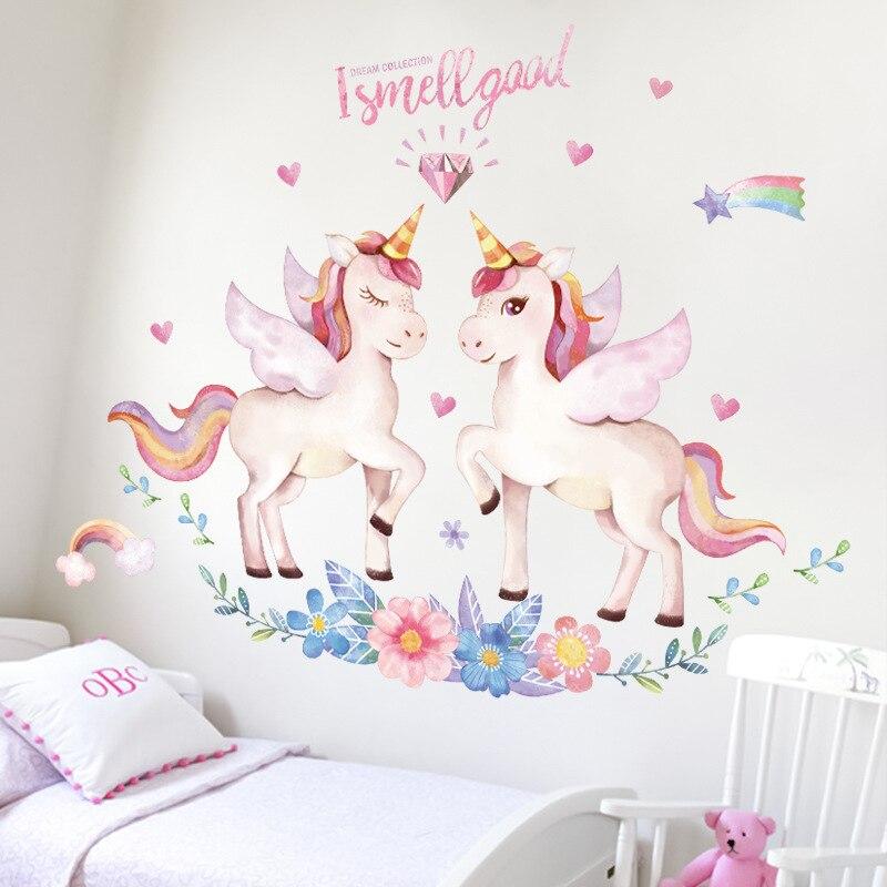 Einhorn Wand Aufkleber für Kinder Mädchen Geburtstag Wand Decor Schlafzimmer wand aufkleber wohnzimmer dekoration Kinder Haus dekoration 1PC