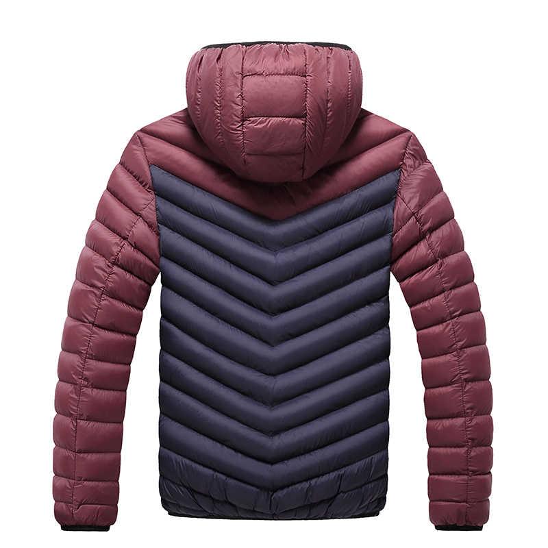 2019 מעיילי גברים חורף חדש אופנה טלאי מעיל מעיל סלעית חם Mens מעילים מקרית Slim Fit זכר מעיל Windproof סתיו
