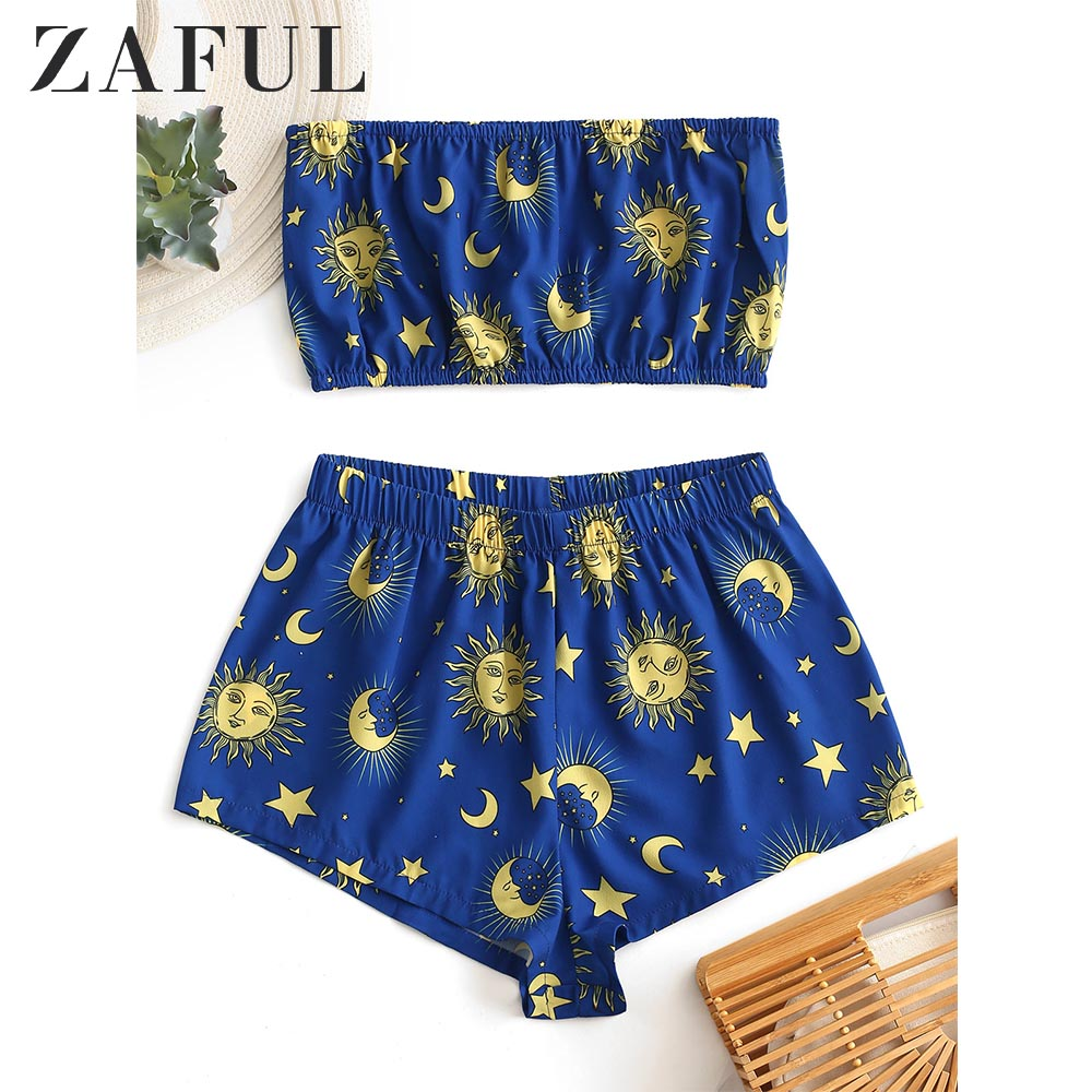 ZAFUL Women'S Sets Star Sun And Moon Tube Top And Shorts Sleeveless Elastic High Waist Streetwear Chic Summer Clothes 2019