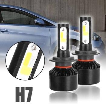 Hot 1 Pair Car Headlight H7 LED 250W 25000LM 6000K 12V 24V Auto Headlamp COB Fog Light Bulb White+Yellow+Blue