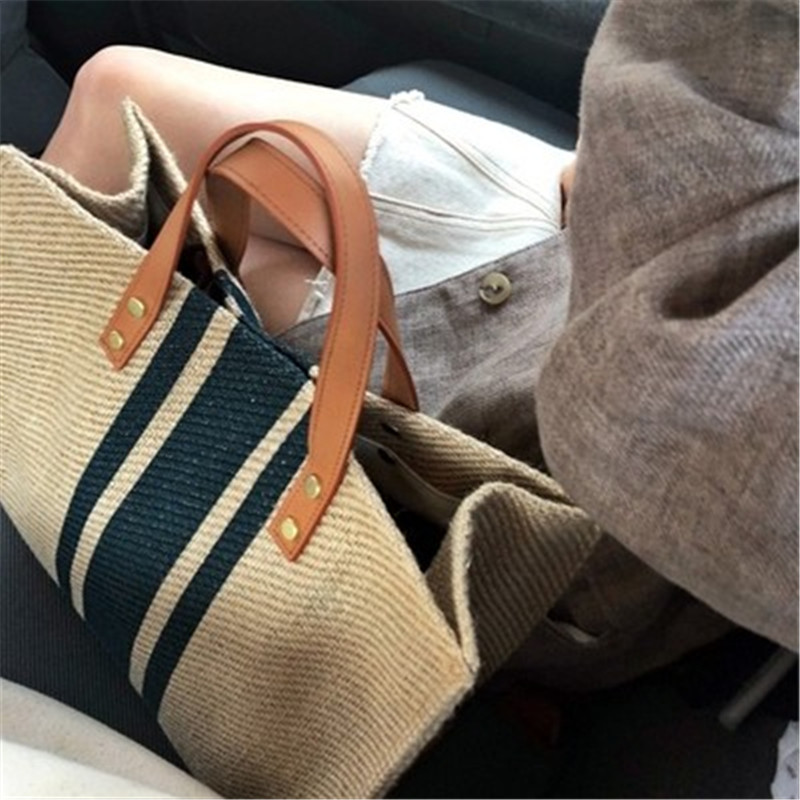Image 2 - NEW Woman Bag Women Handbag Straw Bag Big Bags For Woman 2019 New Color Matching Weaving BigHandbag Fashion Sexy Casual-in Shoulder Bags from Luggage & Bags