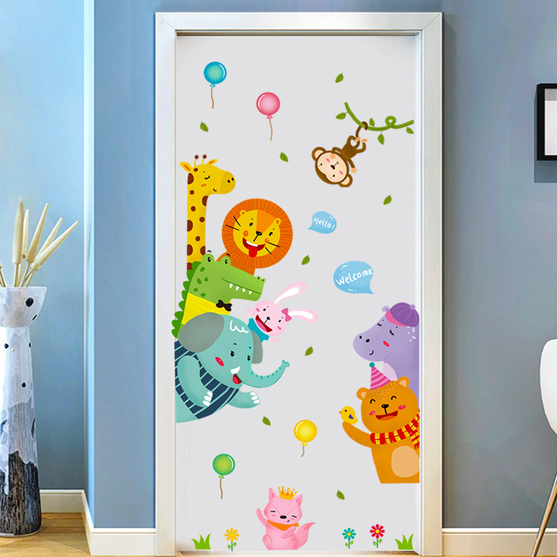 Cartoon Cute Animals Door stickers Anime Wall Stickers for Kids Room living room Decorative Stickers Wall Decals Home Decor PVC