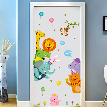 Cartoon Cute Animals Door stickers Anime Wall Stickers for Kids Room living room Decorative Stickers Wall Decals Home Decor PVC removable laundry wall stickers decorative sticker home decor for kids room living room home decor art decals