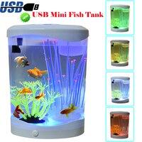 USB Mini Fish Tank Desk Top Jellyfish Aquarium With LED Light Color Changing Night Lamp Small Fish Tank Aquarium Accessories D20