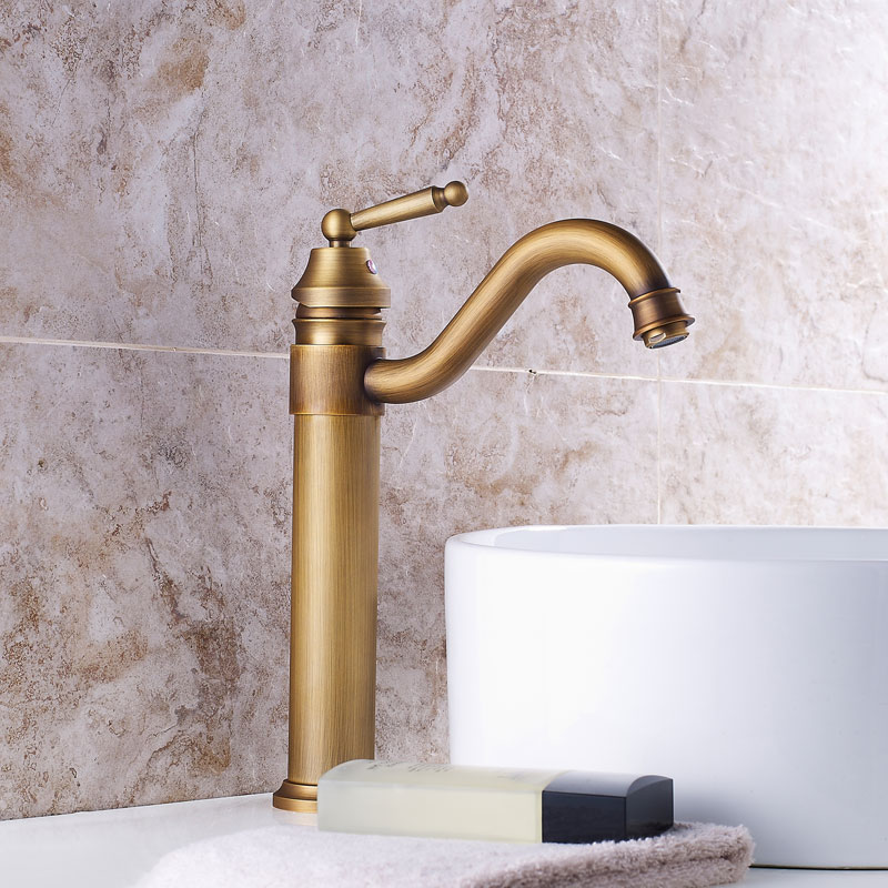 Madica High Bathroom Antique Bronze brass Faucet Tall Vessel Sink Faucets Mixer Hot and Cold Water Tap Antique Bronze Finished