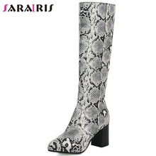 купить SARAIRIS New Plus Size 34-48 2019 Trendy Snake Veins Knee High Boots Women 2019 Winter Add Fur Boots High Heels Shoes Woman дешево