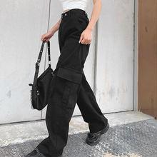 Новые женские джинсы повседневные однотонные прямые с карманами