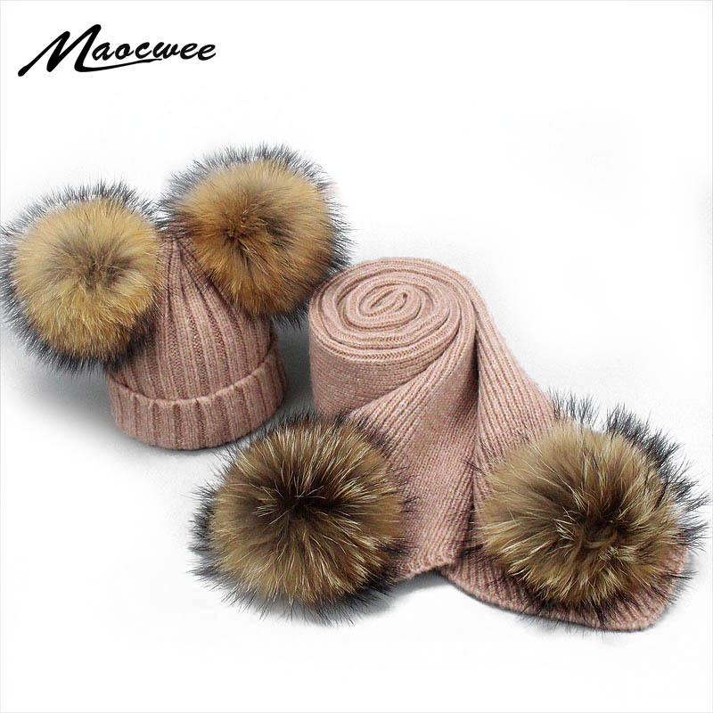 Real Raccoon Fur Pompom Wool Hat Scarf Set For Baby Women Winter Knitted Hat With Real Fur Pom Children Female Thick Warm Beanie