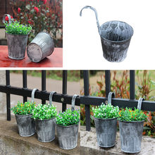 1x Flower Pot Garden Hanging Balcony Plant Home Decor Metal Iron Potted Planter Balcony Plant Hang Pot Nursery Bonsai Pots #T3(China)