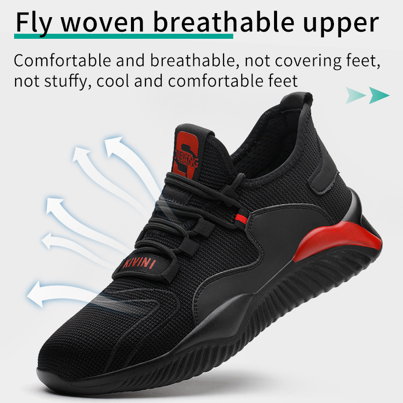FANAN Breathable Safety Shoes Men's Work Boots Lightweight Steel Toe Anti-smashing Breathable  Construction Shoes Dropshipping