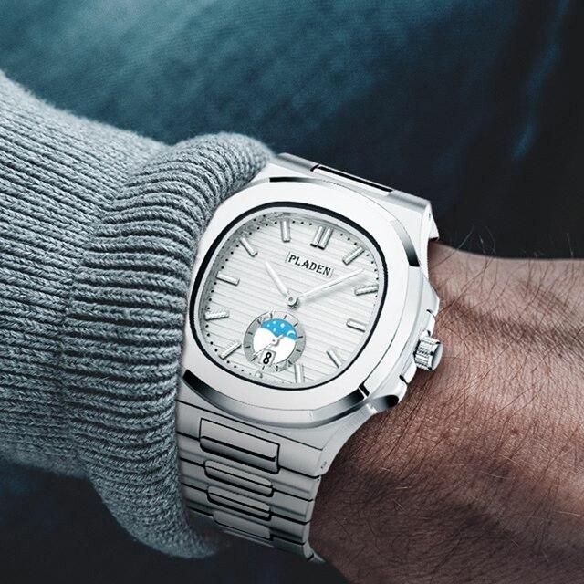 Klasyczne PP NAUTILUS 5711 projektant Patek ze stali nierdzewnej męskie zegarki Top marka luksusowy zegarek chronograf biały zegarek kwarcowy