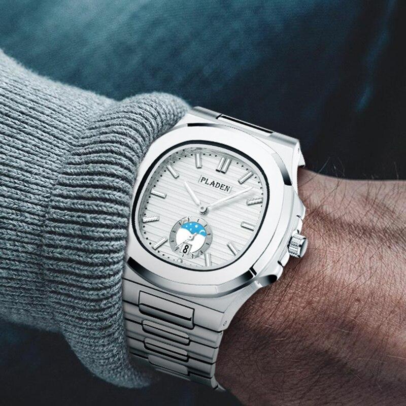 Designer de Aço Clássico Nautilus Inoxidável Patek Masculino Relógios Topo Marca Luxo Relógio Cronógrafo Quartzo Branco Pulso pp 5711