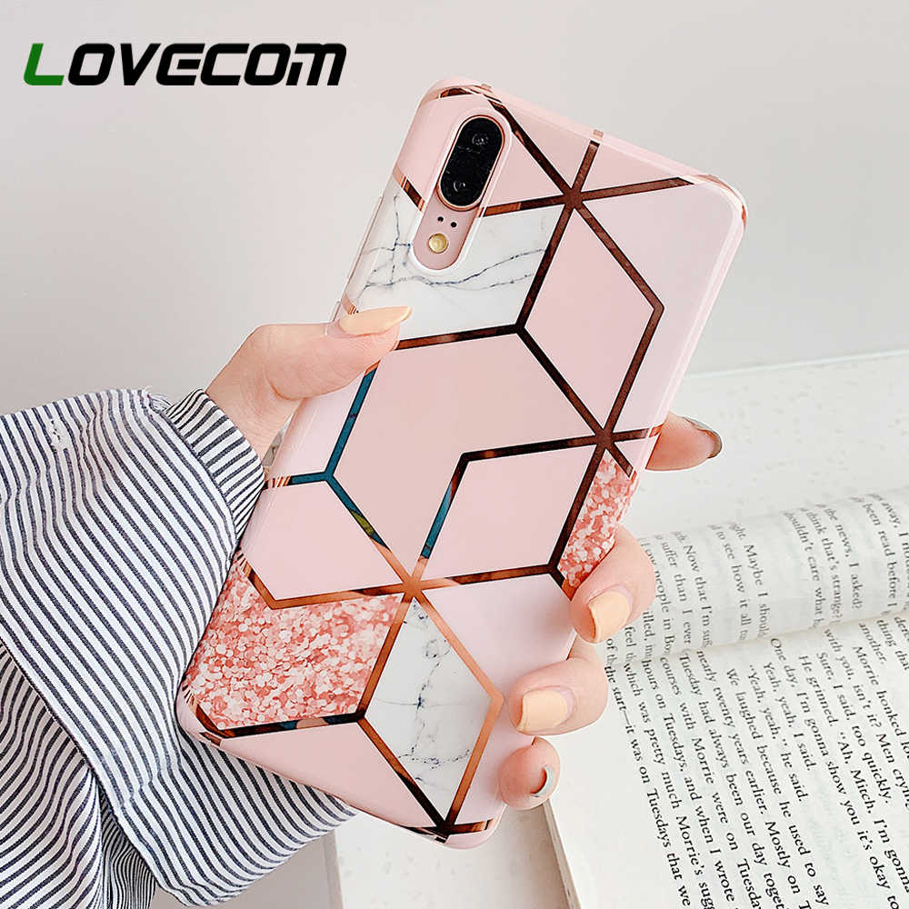 LOVECOM Electroplate Geometric Marble Phone Case For Huawei P20 P30 Pro Lite Mate 30 20 Pro Lite Anti-Shock Soft IMD Back Cover