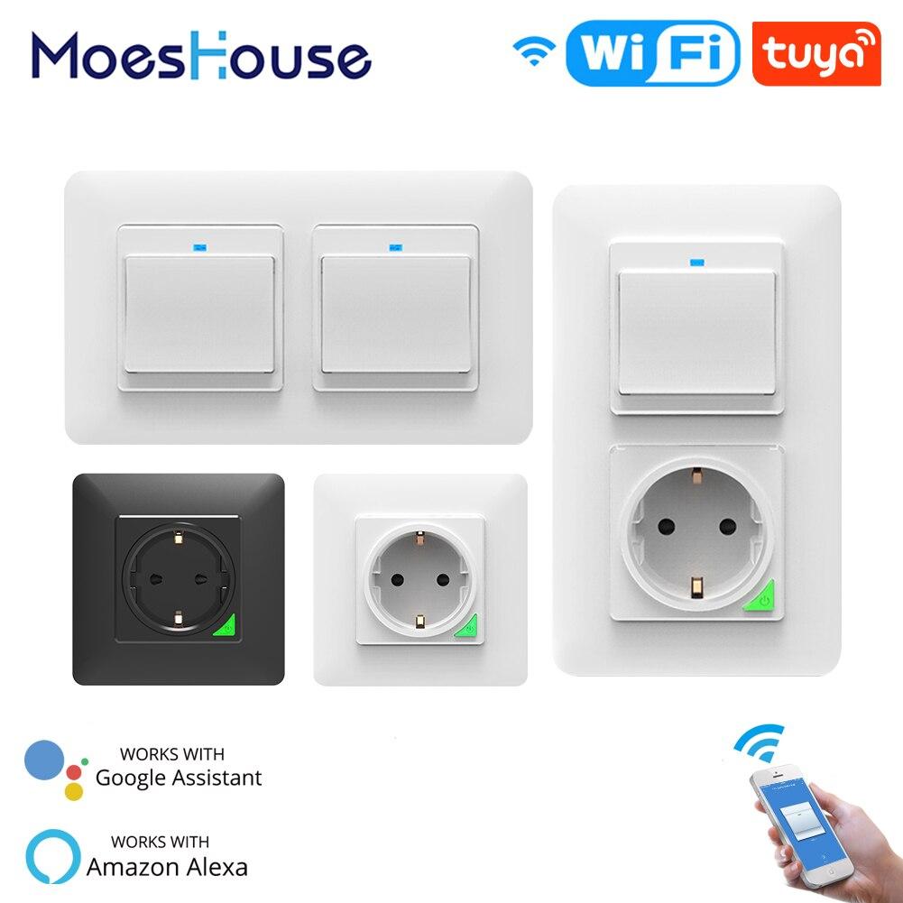 Wi Fi умный светильник, настенный выключатель, розетка, Кнопочная кнопка, ЕС, умная жизнь, Tuya, беспроводной пульт дистанционного управления, работает с Alexa Google Home|Выключатели|   | АлиЭкспресс
