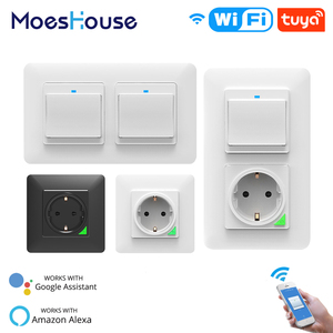 WiFi Smart Light Wall Switch Socket Outlet Push Button DE EU Smart Life Tuya Wireless Remote Control Work with Alexa Google Home(China)