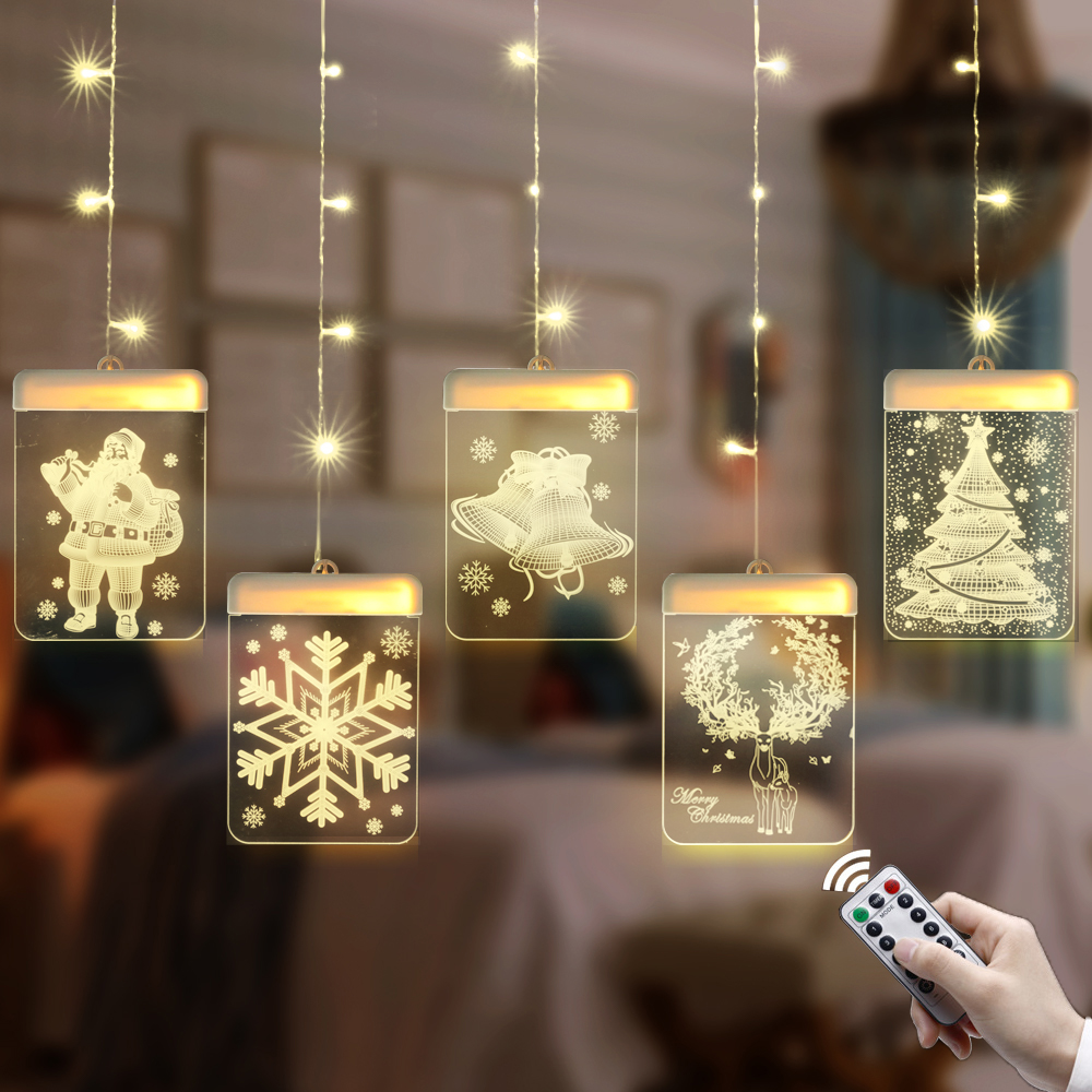 LED Night Light Garland Christmas Hanging Lights Wall 3D Santa Claus USB Lamp Card For Door Window Holiday Decoration