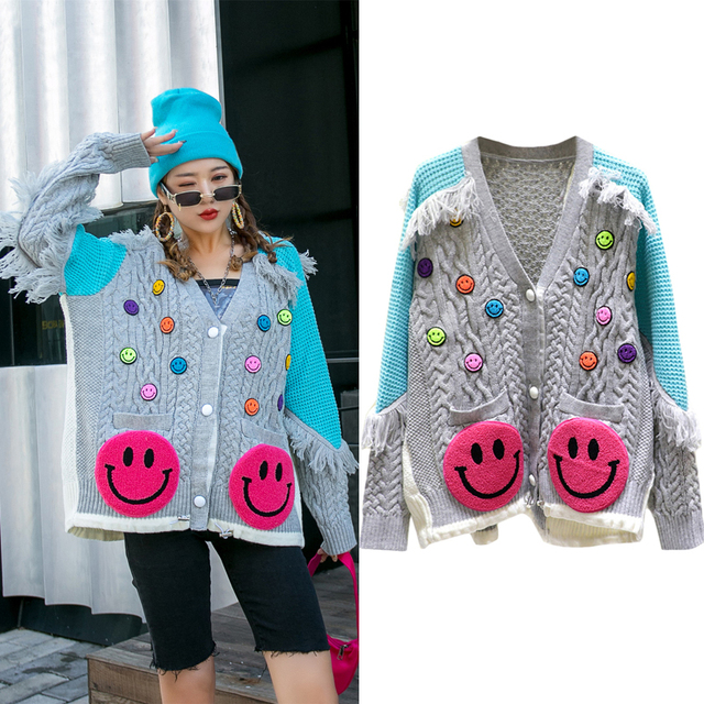 Loose Womens Oversized Sweaters Fall 2020 Good Quality Heavy Tassel Long Sleeve Patchwork Kawaii Knitted Cardigan Designer Tops 1