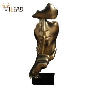 Image 1 - VILEAD 28.5cm reçine sessizlik, altın heykeli soyut maske heykelcikler avrupa maskesi heykel heykelcik ofis eski ev dekor