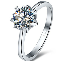 Snowflake 1ct synthetic diamond solitaire ring for women sterling silver engagement ring wedding ring Lover ring (BB)