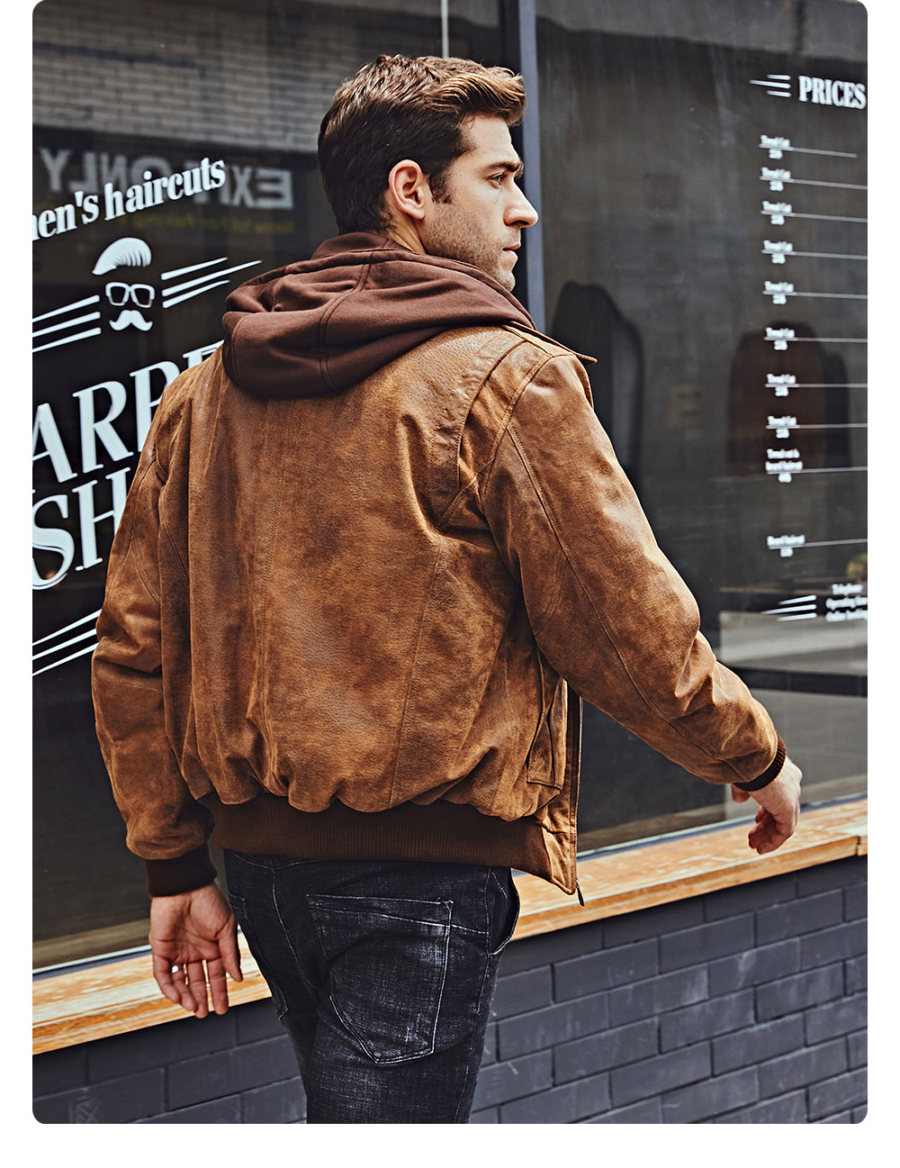H304e2305cda9408188f0080582b062f6e FLAVOR New Men's Genuine Leather Bomber Jackets Removable Hood Men Air Forca Aviator winter coat Men Warm Real Leather Jacket