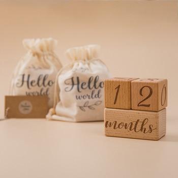 1set Baby Milestone Wooden Block Baby Photography Milestone Memorial Monthly Newborn Commemorative Card Number Photo Accessories